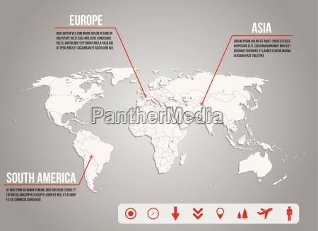 mapa world infografia con varios iconos