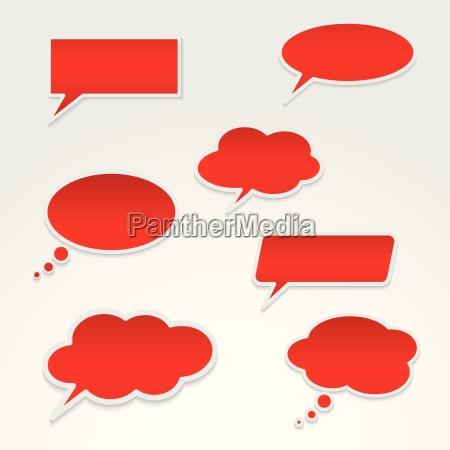 satz von verschiedenen roten sprechblasen