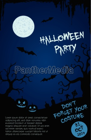halloween party flyer template blue