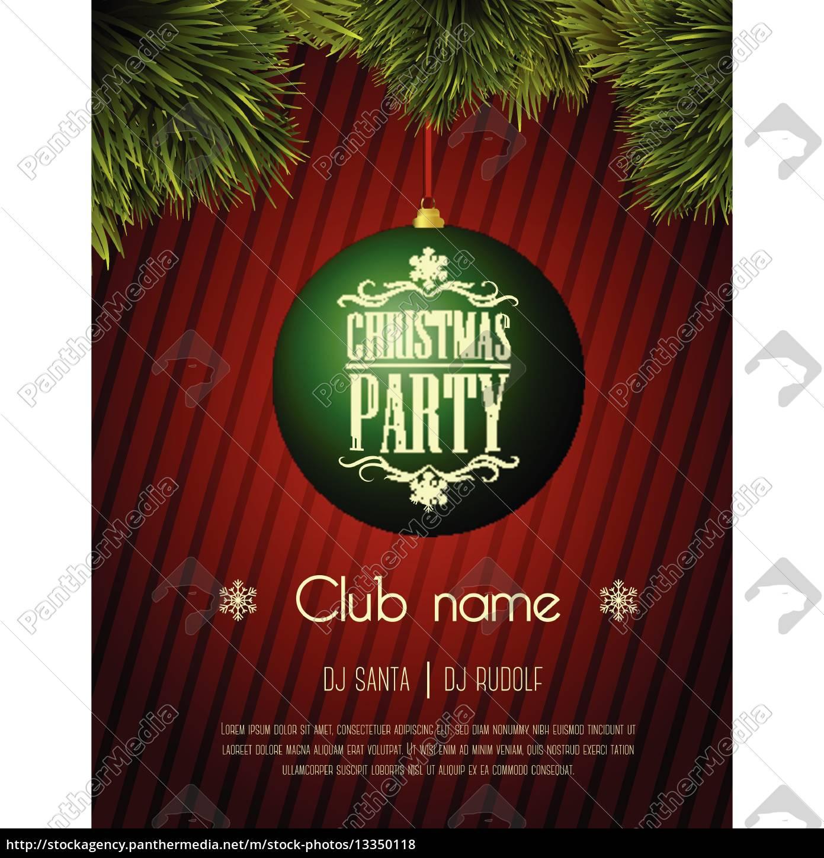 weihnachts-party-flyer-vorlage - grüne flitter auf - Stock Photo ...