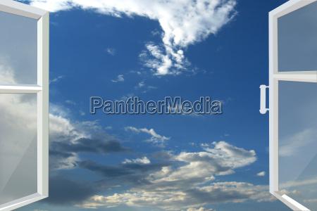 fenster zum blauen himmel geoeffnet
