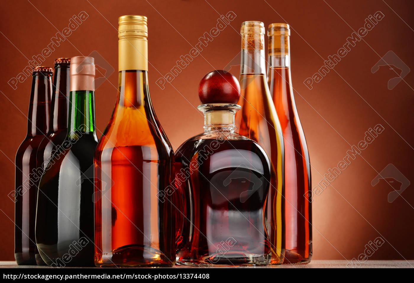 flaschen, sortierte, alkoholische, getränke - 13374408
