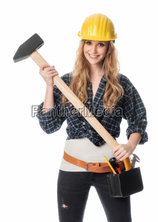 female craftsman with hammer