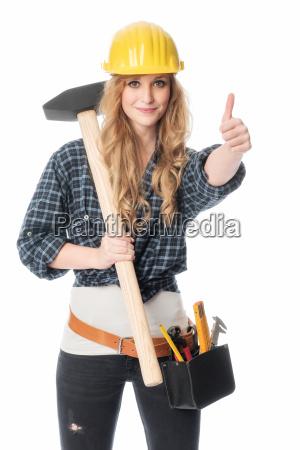 female artisan with sledgehammer