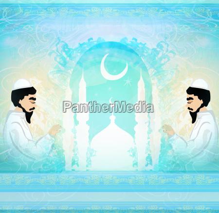 abstrakte religioese karte muslimischer mann
