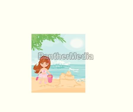 kleines maedchen am tropischen strand der