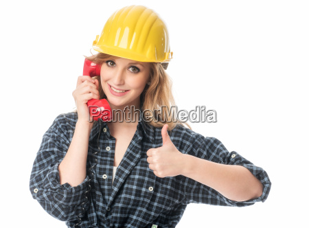 handyman on phone showing thumbs up