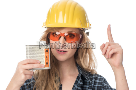craftsmen with safety goggles holding paint
