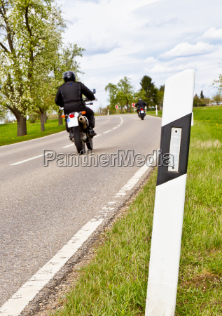 motorcycling focus on foreground