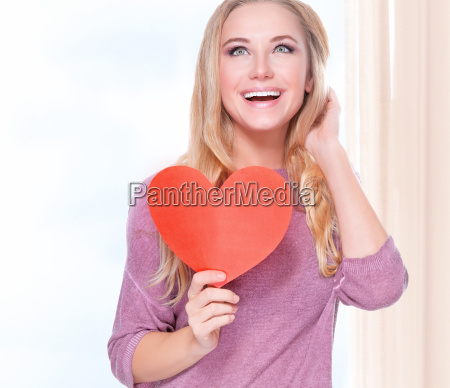 happy woman with romantic card