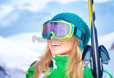 portrait des skifahrers maedchen