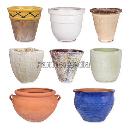various flower pots and pot holders