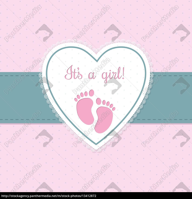 baby-dusche einladung design mit fußspuren - Lizenzfreies Foto ...