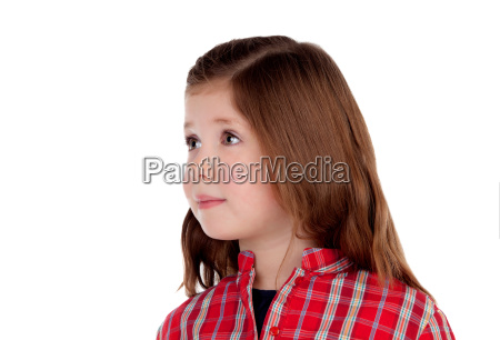 adorable little girl with red plaid