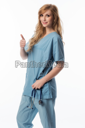 nurse showing thumbs up