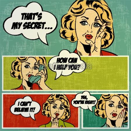 illustrationen fuer comic buecher mit retro