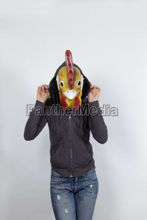 cock wearing a hoodies