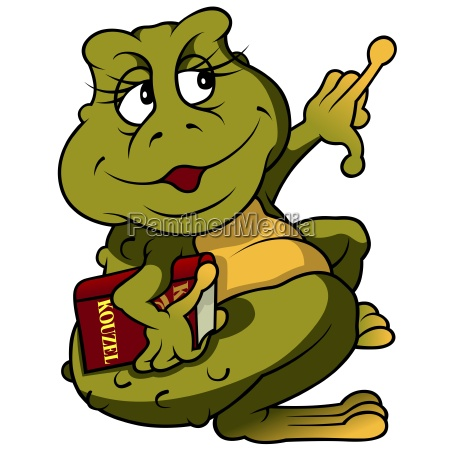 frog with book