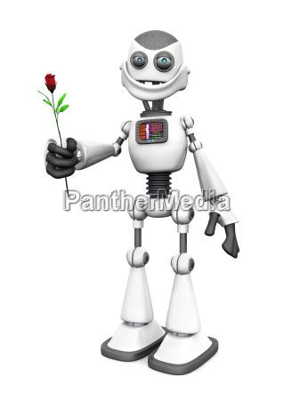 weiss laechelnd cartoon roboter holding stieg