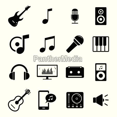 sammlung von flach media icons