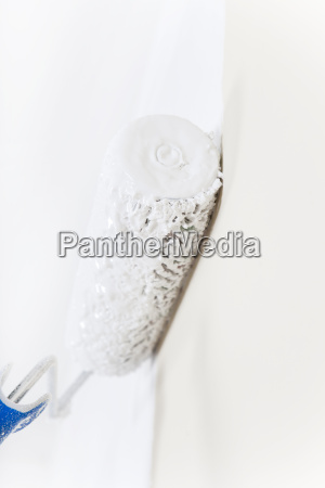 paint roller with white paint