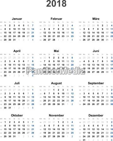 kalender 2018 universal ohne feiertage