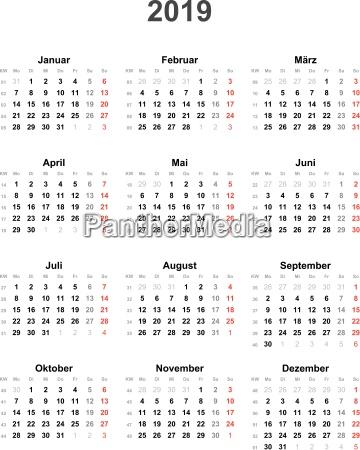 kalender 2019 universal ohne feiertage