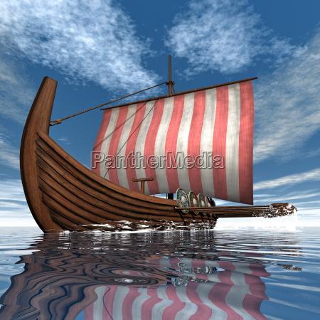drakkar oder wikingerschiff 3d