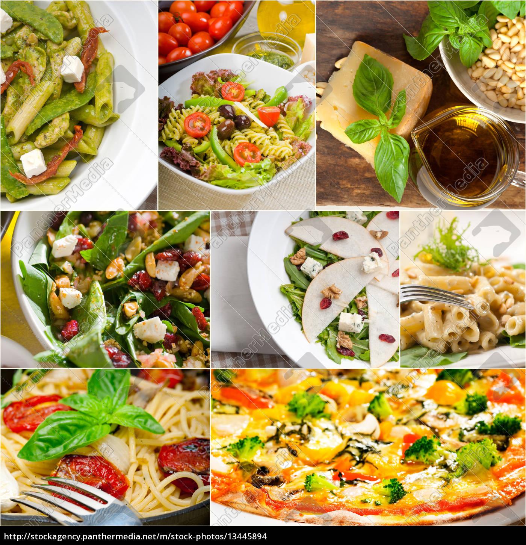 gesunde, und, leckere, italienische, essen, collage - 13445894