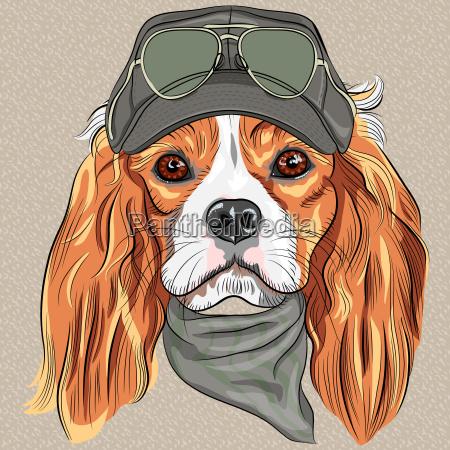 vektor netter hipster hund cavalier king