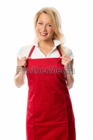 satisfied housewife with red apron