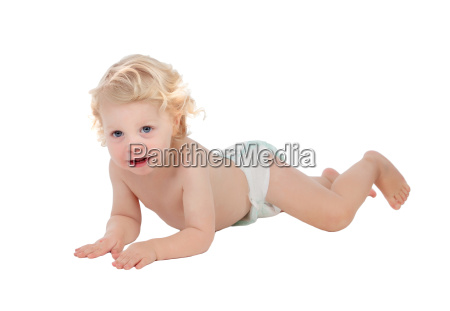 adorable blond baby with two years