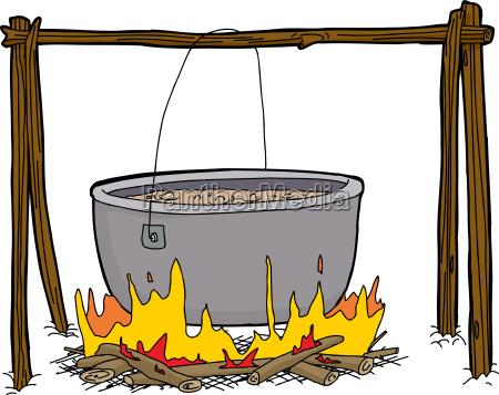 kessel suppe im lagerfeuer
