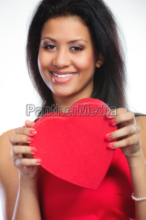 lovely woman with red heart shaped
