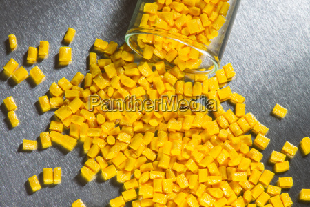 different colored plastic granules in test