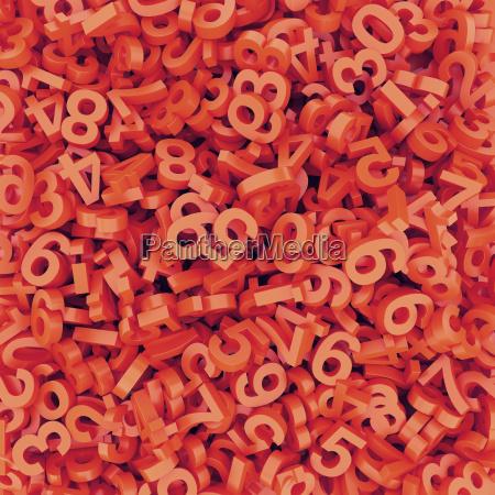 abstrakt rot orange zahlen gefallen 3d