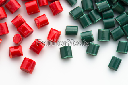 various colorful colored plastic granules on