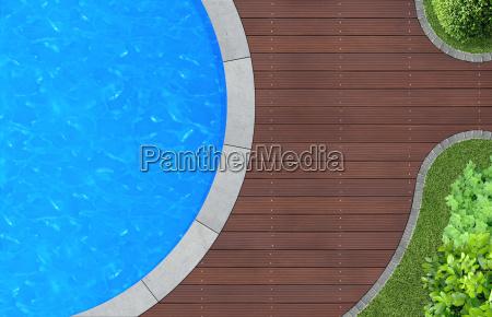 swimming pool von oben im garten