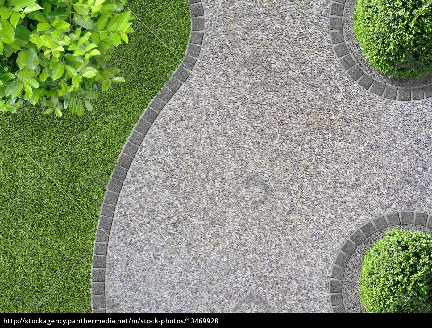 kies weg im garten, kiesweg im garten oder park in der vogelperspektive - lizenzfreies, Design ideen