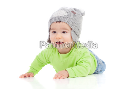 beautiful baby with wool hat