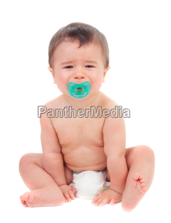 cute baby crying with pacifier