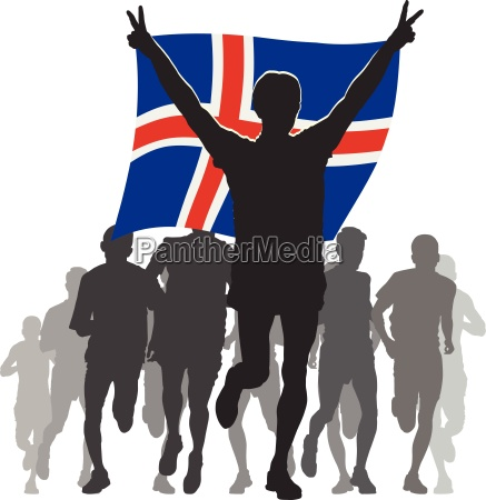 athlete with the iceland flag at