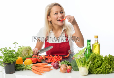 housewife preparing a salad for attempts