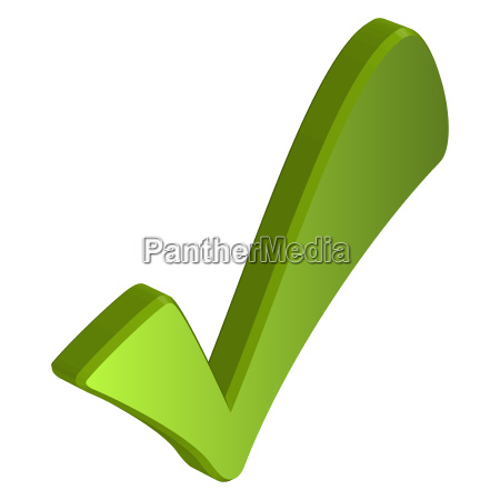 green three dimensional check mark