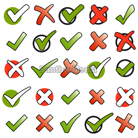 collection green checkmarks and red crosses