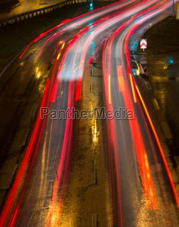 light streaks in the city