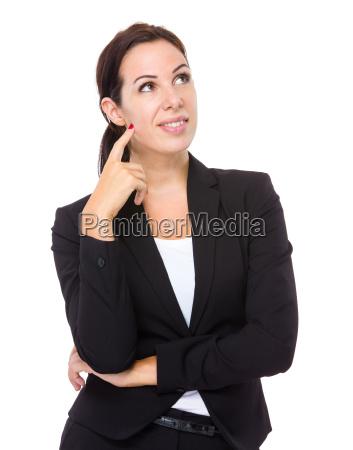mujer de negocios pensar en la