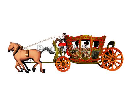 koenigliche kutsche mit zwei pferden