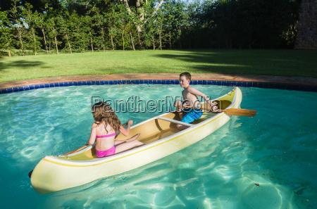children canoe pool