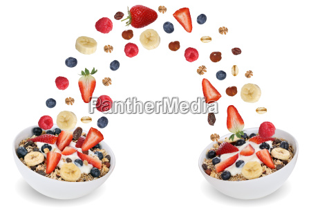 flying fruit cereal in bowl with